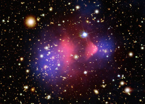 The Bullet Cluster shows the aftermath of a cosmic collision between two galaxy clusters. In this false-color image, the hot gas (pink) slowed down in the collision due to a drag force, while the dark matter (blue) appeared to keep passing through, as one would expect if dark matter is collisionless.