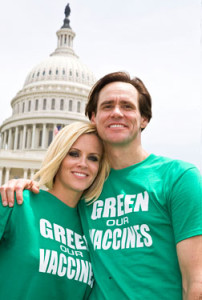"""Jenny McCarthy and Jim Carrey at the """"Green Our Vaccines"""" press conference in 2008"""