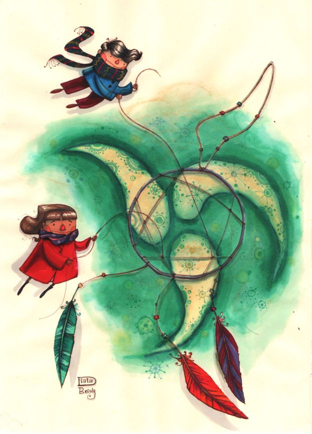 Dreamcatcher - an illustration by Diala Brisly, encouraging children to hang on to their dreams