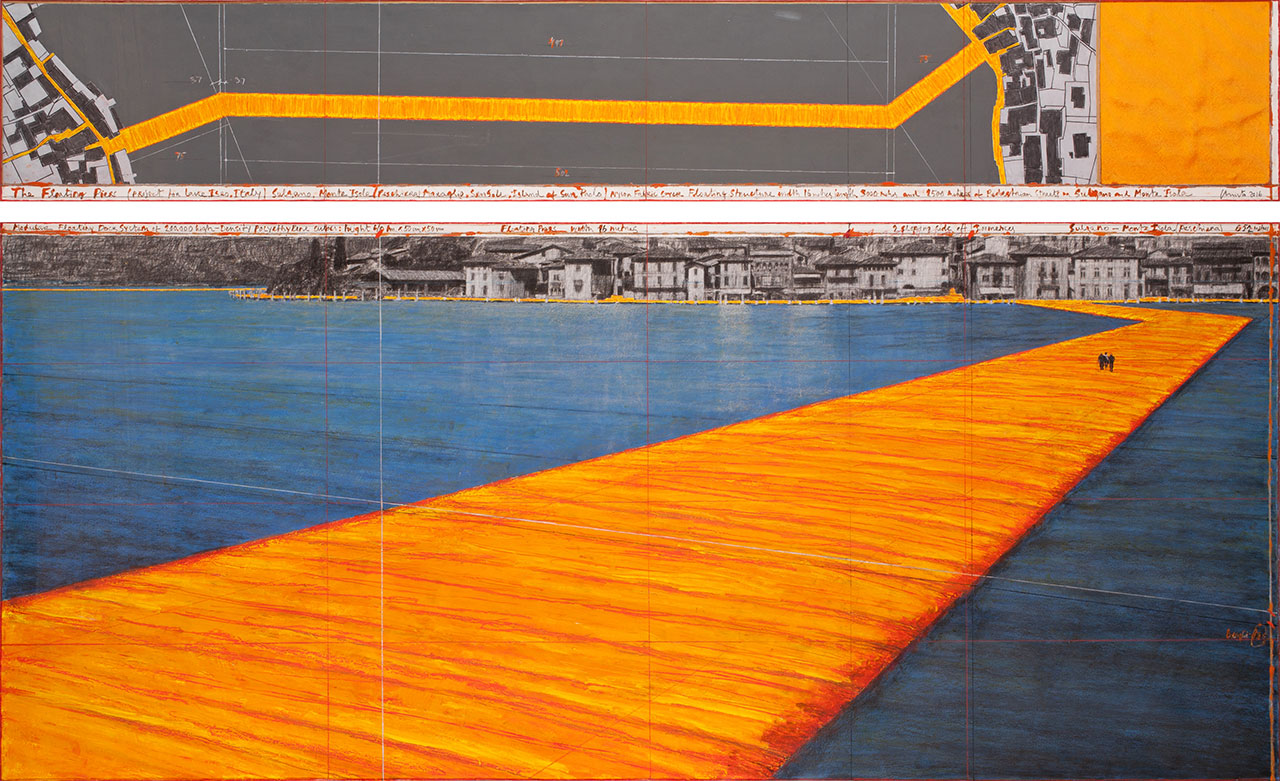 """Christo,Drawing 2016 in two parts.15 x 96"""" and 42 x 96"""" (38 x 244 cm and 106.6 x 244 cm).Pencil, charcoal, pastel, wax crayon, enamel paint, cut-out photographs by Wolfgang Volz, hand-drawn map and fabric sample.Photo byAndré Grossmann© 2016 Christo."""