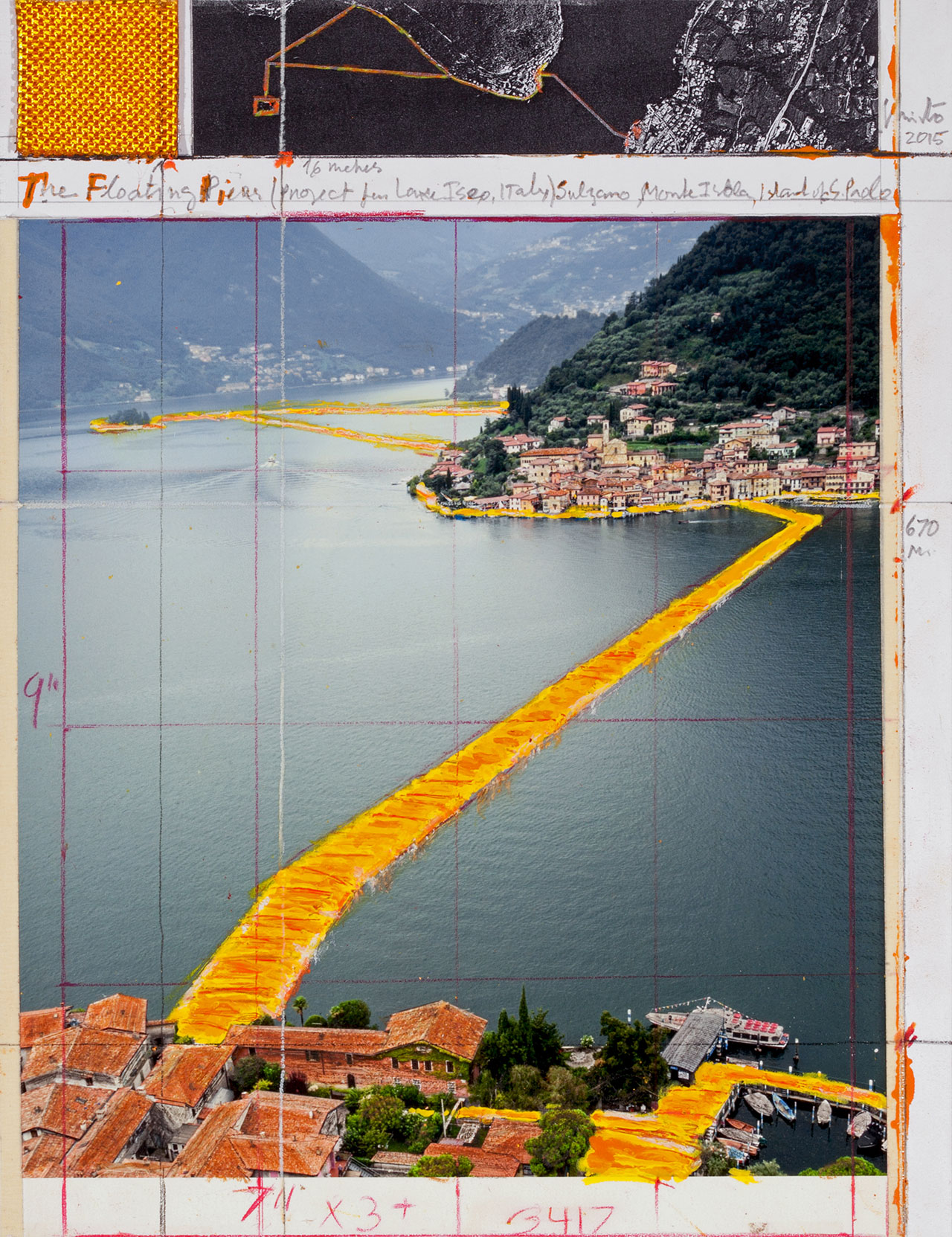 """Christo,Collage 2015.11 x 8 1/2"""" (28 x 21.5 cm).Pencil, wax crayon, enamel paint, photograph by Wolfgang Volz, aerial photograph and fabric sample.Photo by André Grossmann© 2015 Christo."""